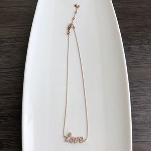 """Henri Bendel """"Love"""" Necklace - Rose Gold"""